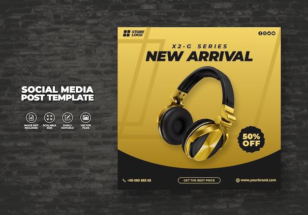 ソーシャルメディアテンプレートバナー用のモダンでエレガントなブラックゴールドカラーのワイヤレスヘッドフォンブランド製品