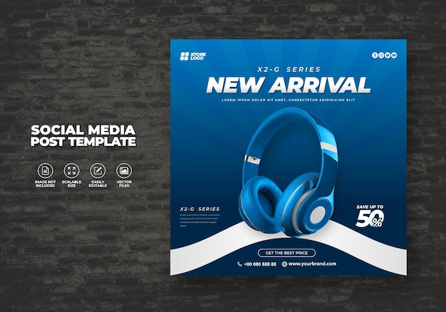 ソーシャルメディアテンプレートバナー用のモダンでエレガントなブルーカラーワイヤレスヘッドホンブランド製品