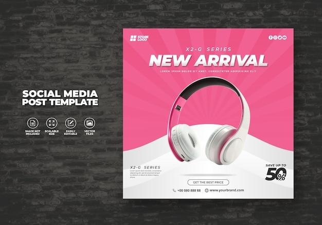ソーシャルメディアテンプレートバナー用のモダンでエレガントなホワイトカラーワイヤレスヘッドホンブランド製品