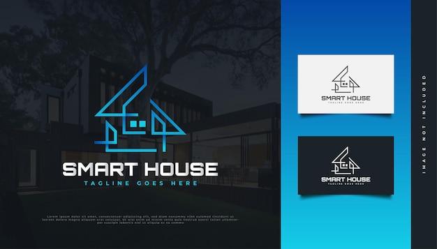 선 스타일이 있는 파란색 그라데이션의 현대적이고 미래 지향적인 부동산 로고 디자인. 건설, 건축 또는 건물 로고 디자인
