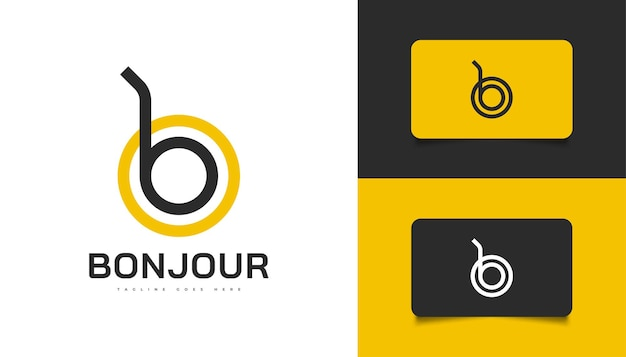 검은색과 노란색의 현대적이고 미니멀한 문자 b 및 o 로고 디자인. 추상 bo 또는 ob 로고 디자인 템플릿