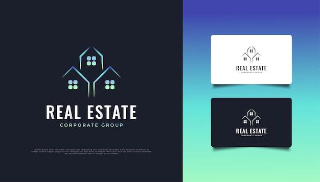 モダンでミニマリストの不動産ロゴデザイン。建設、建築または建物のロゴデザインテンプレート