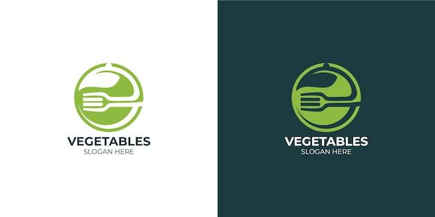 モダンでミニマリストの野菜のロゴセット