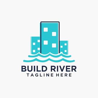 현대적이고 쾌활한 건물 강 로고 벡터