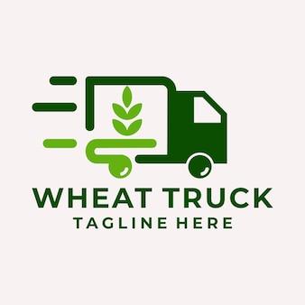 Современный и игривый вектор логотипа пшеницы и грузовика