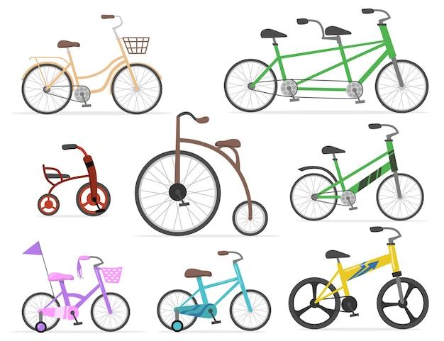 웹 디자인을위한 현대적이고 복고풍 자전거 평면 세트. 만화 그리기 오래 된 사이클 및 밝은 색상 고립 된 벡터 일러스트 컬렉션에서 귀여운 자전거. 운송, 사이클링 및 레이스 개념