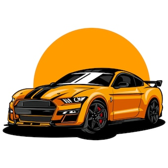 Иллюстрация современного и спортивного автомобиля