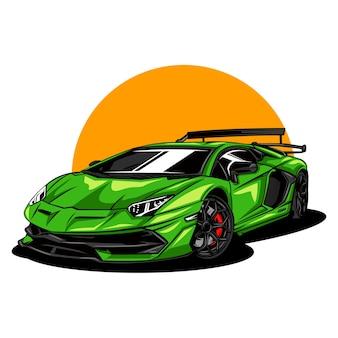 現代とスポーツカーのイラスト