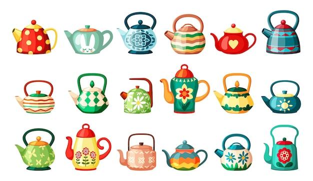 Набор рисунков современных и старинных чайников Premium векторы