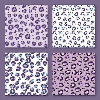 正方形のモダンなアニマルプリントパターンコレクション