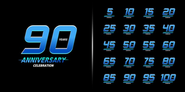 Modern anniversary celebration design set.