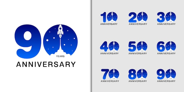 Modern anniversary celebration with rocket and space.