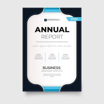Modern annual report brochure template with blue shapes
