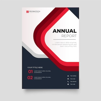 Modern annual report brochure template with red shapes