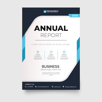 Modern annual report brochure with abstract shapes