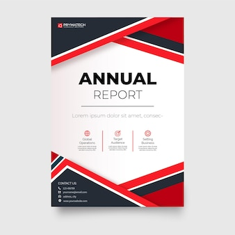 Modern annual report business brochure template with abstract shapes