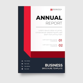 Modern annual report business brochure template with geometric red ribbon shapes