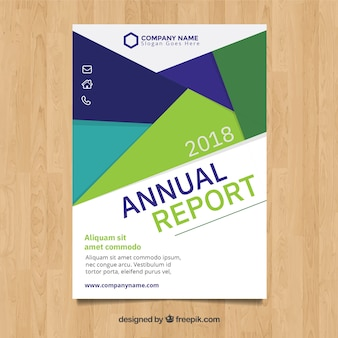 Modern annual report cover with geometric shapes