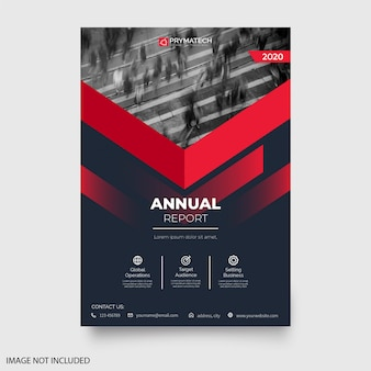 Modern annual report flyer with abstract shapes