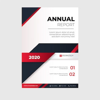 Modern annual report template with abstract red shapes
