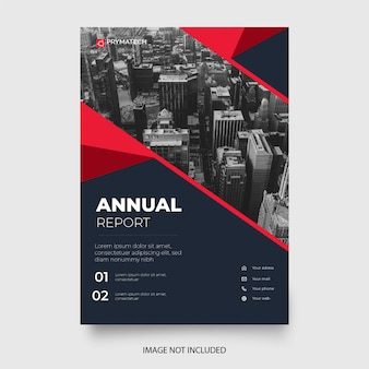 Modern annual report template with red shapes