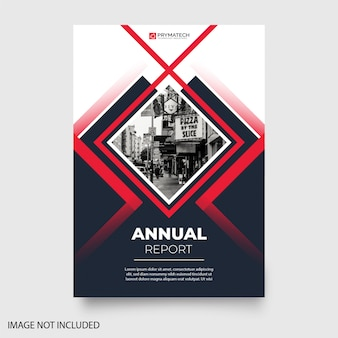 Modern annual report with abstract shapes