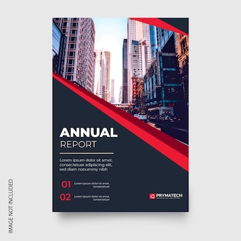 Modern annual report with red shapes