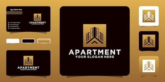 Современный дизайн логотипа многоквартирного дома и визитная карточка