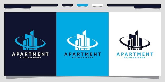 創造的なユニークなコンセプトのプレミアムベクトルでモダンなアパートの建物のロゴデザイン