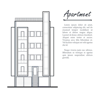 Modern apartment building with balconies.