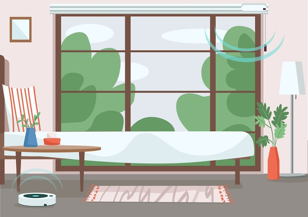 Современная квартира плоская цветная иллюстрация. пустая комната с автоматическими жалюзи и пылесосом. интернет вещей. интерьер спальни 2d мультфильм с умными устройствами на фоне