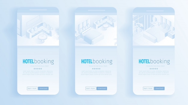 Modern apartment interior banners online booking