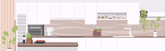 Modern apartment with furniture empty no people kitchen interior horizontal