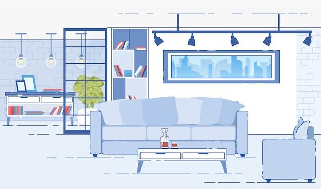 Современные квартиры уютный интерьер плоский вектор