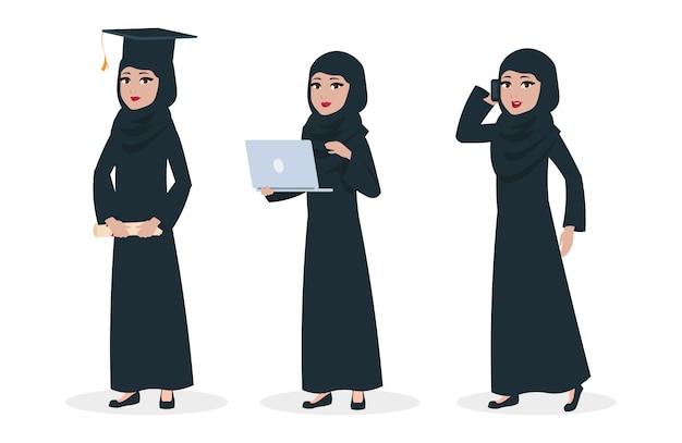 현대 아랍 여성 캐릭터. 무슬림 여성 졸업 및 비즈니스 레이디 일러스트