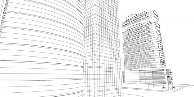 Современная архитектура, 3d каркасная архитектура, эскиз архитектурный.