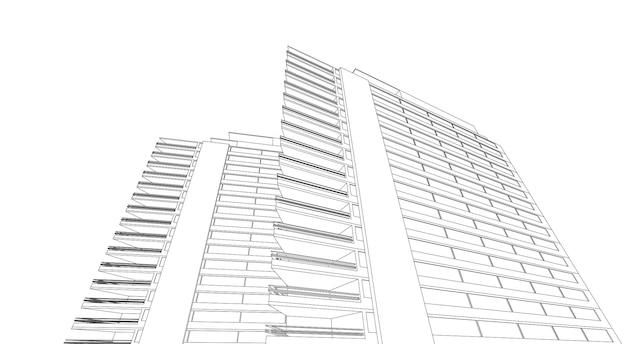 近代建築ワイヤーフレーム、抽象的な建築背景、3dイラスト