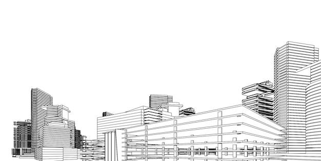 近代建築のワイヤーフレーム。都市のワイヤフレームの概念。ワイヤフレームアーキテクチャの3 dイラストを構築