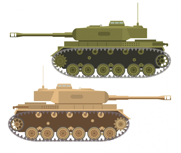 The modern army military heavy american tank in desert and summer a camouflage.