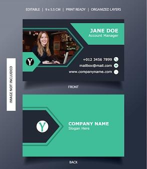 Modern arrow banner business card template