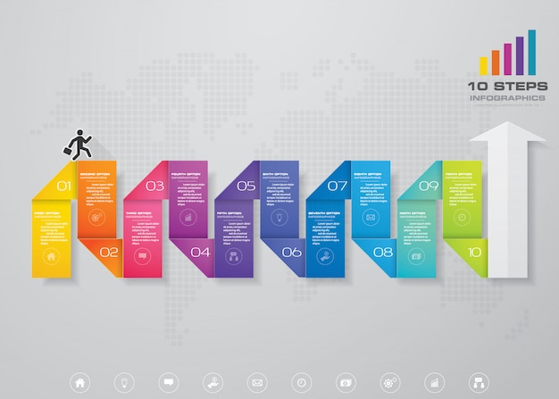 Modern arrow chart infographic element