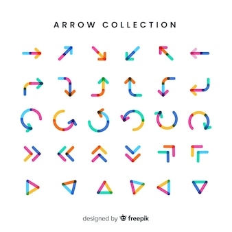 Modern arrow collection with flat design