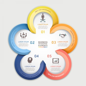 Modern arrow infographics business circle element origami style.