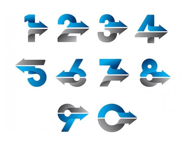 モダンな矢印番号デザイン
