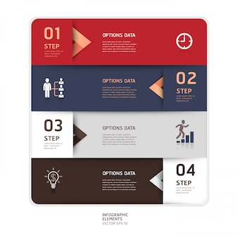 Modern arrow origami style step up options. workflow layout, diagram, number options, web design, infographics.