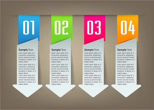 Modern arrow paper text box template, banner infographic
