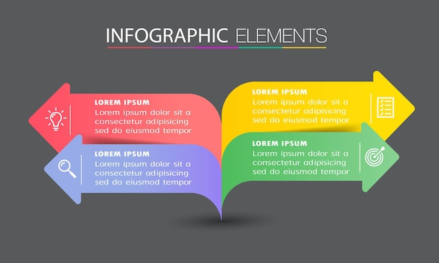 Modern arrow text box template, banner infographics