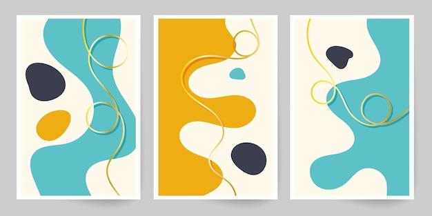 現代美術。抽象的なカバーテンプレート。幾何学的な形と線のセット。