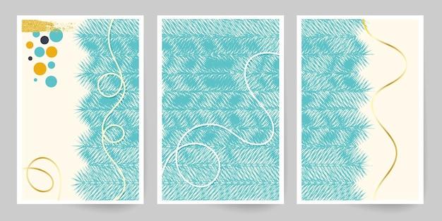 Современное искусство. абстрактный шаблон обложки. зимний мотив. набор геометрических линий. имитация акварельной живописи текстуры брошюры. минималистичный холст, расписанный вручную. новогодний дизайн.