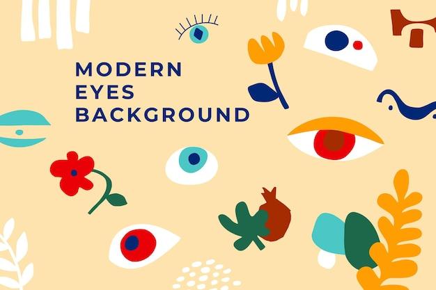 抽象的な目、花、地理的な形と現代アートの背景。マティスにインスパイアされたゴリゾンタルポスターのシンプルな形。幾何学的な落書き、花、果物。明るい色の手描きの目。ベクトルイラスト